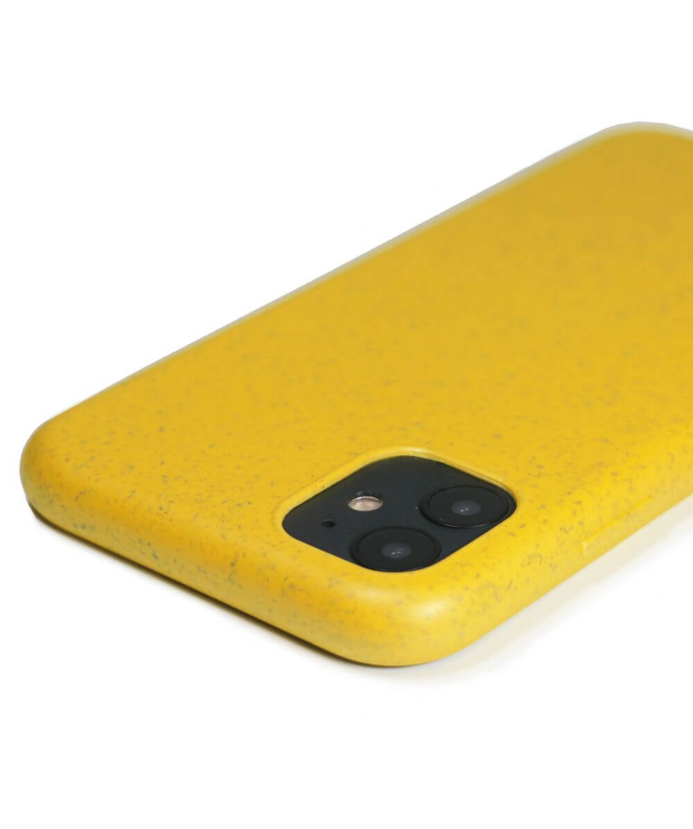 biodegradable phone cases in yellow